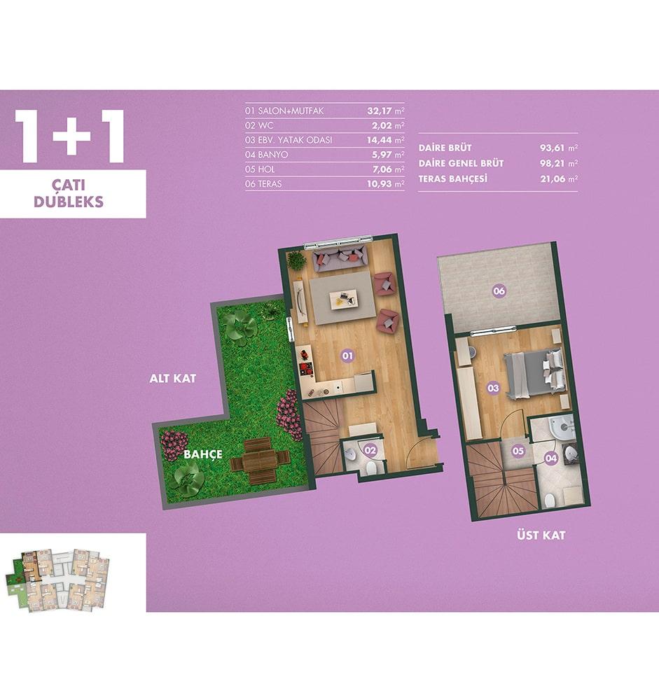 Kavanya Koru 1+1 Çatı Dublex Kat Planları