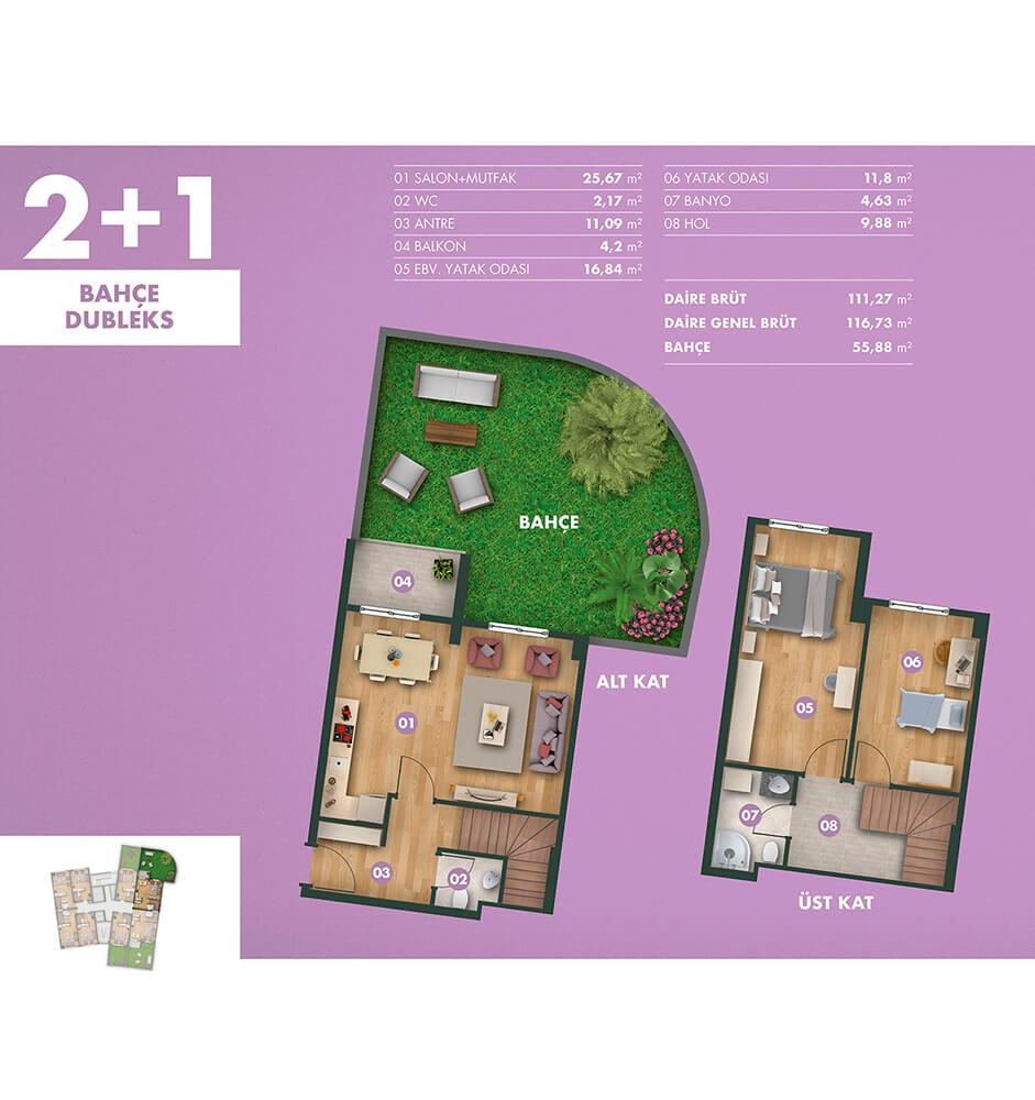 Kavanya Koru 2+1 Bahçe Dublex Kat Planları