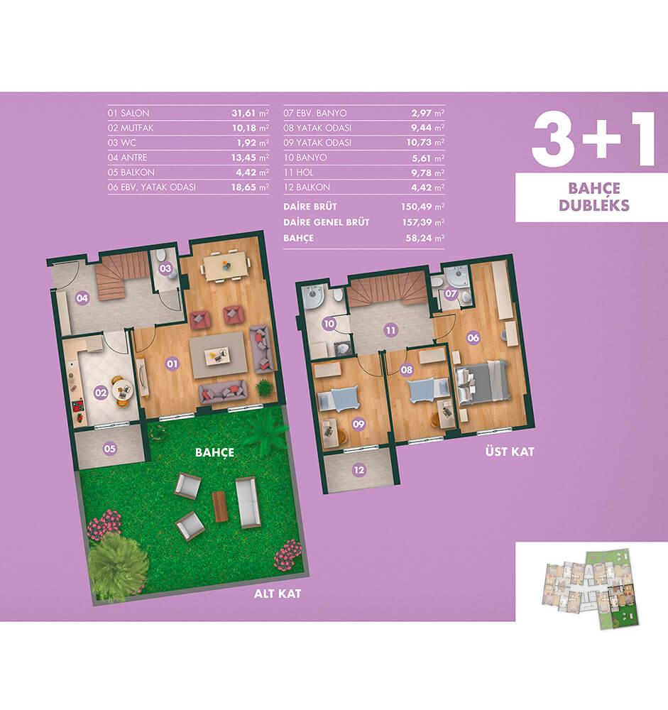 Kavanya Koru 3+1 Bahçe Dublex Kat Planları