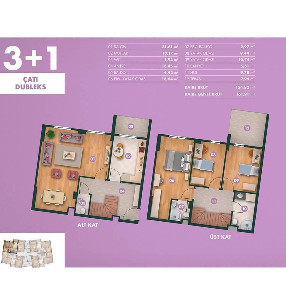 Kavanya Koru 3+1 Çatı Dublex Kat Planları