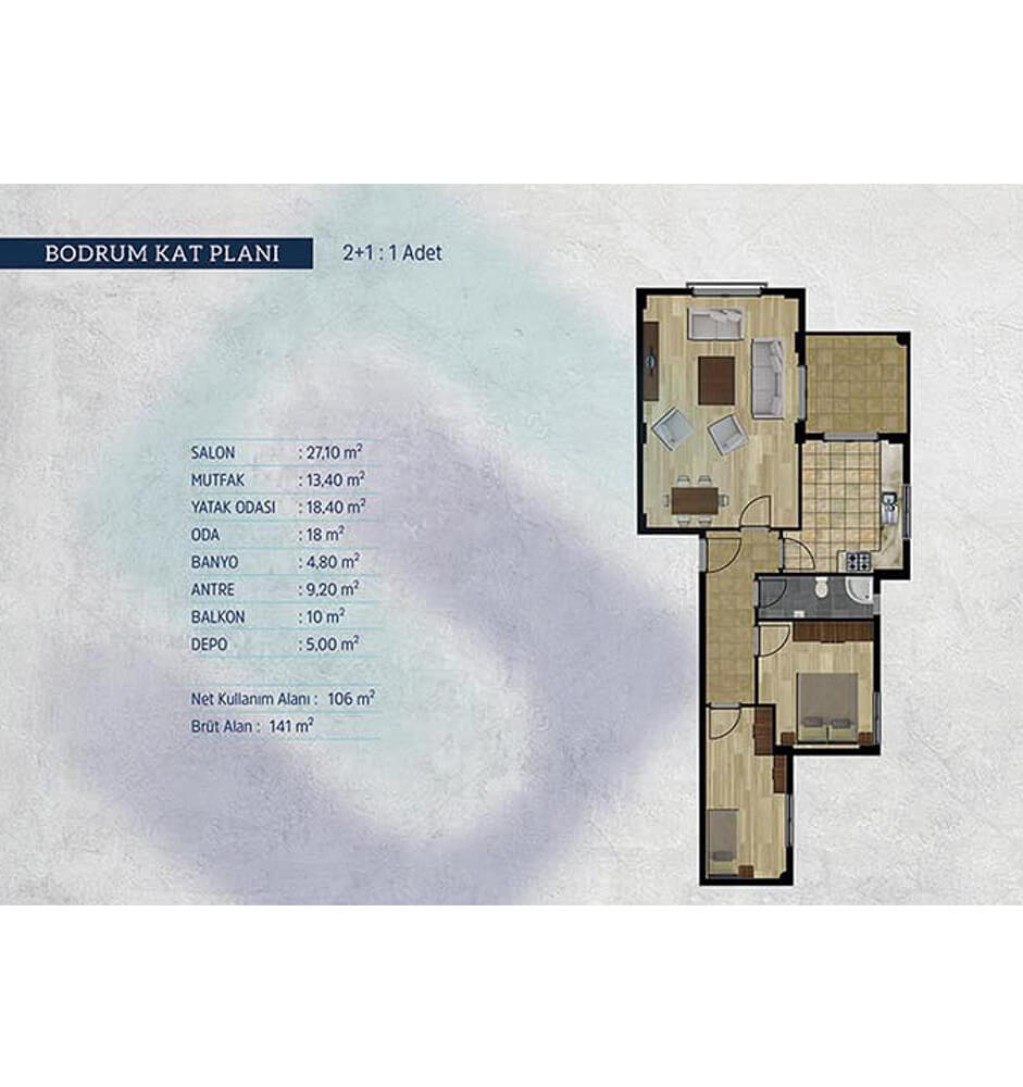 Kayapa Koru Evleri 2+1 Kat Planları