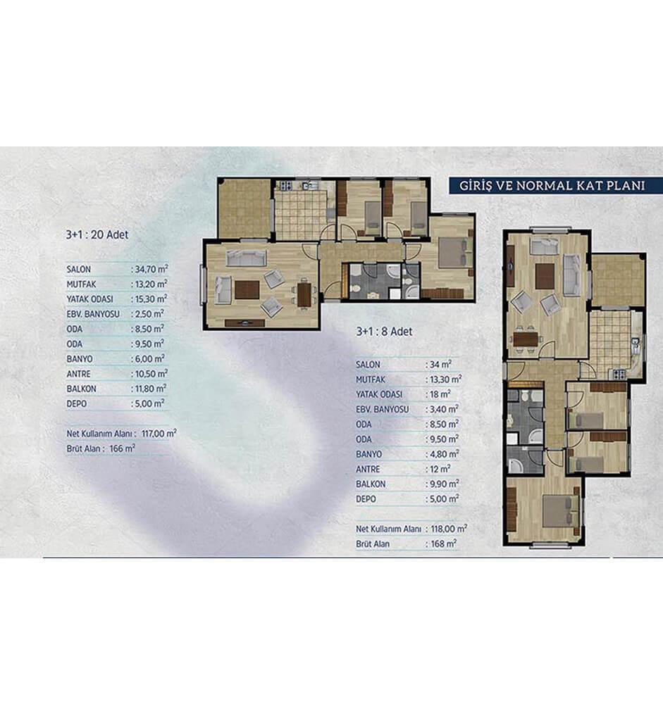 Kayapa Koru Evleri 3+1 Kat Planları