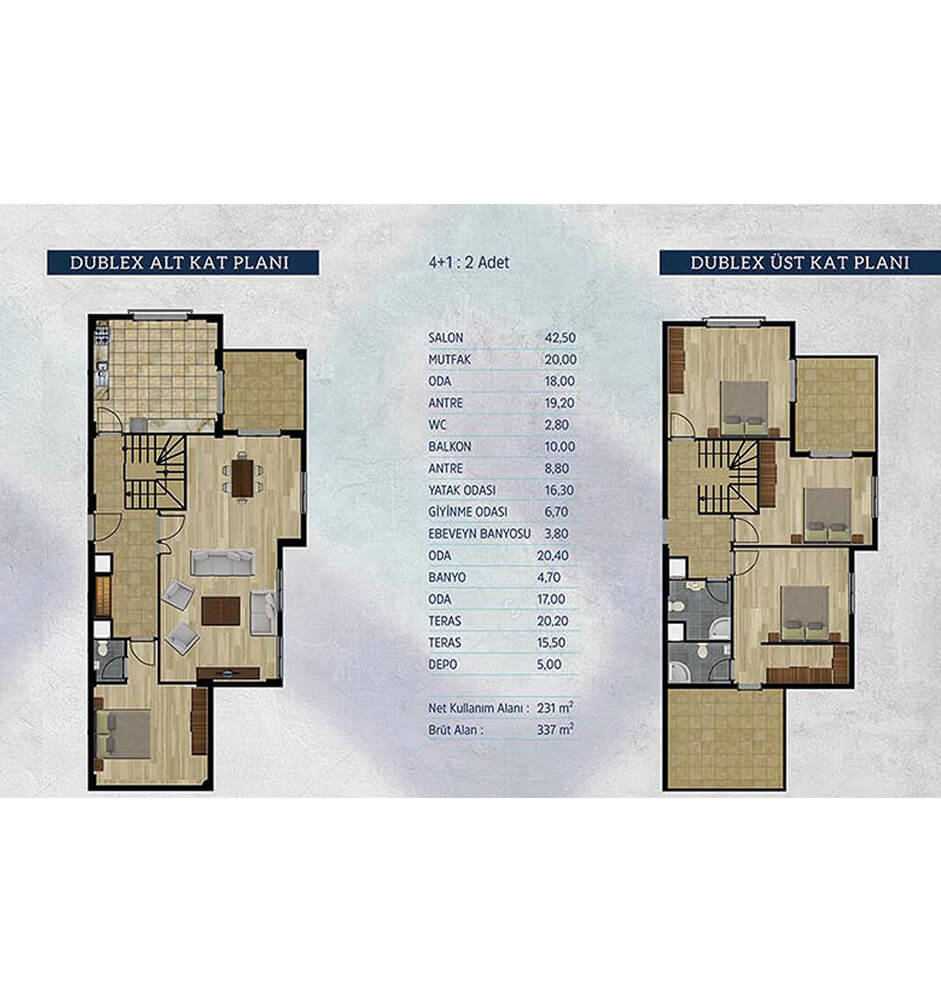 Kayapa Koru Evleri 4+1 Dublex  Kat Planları