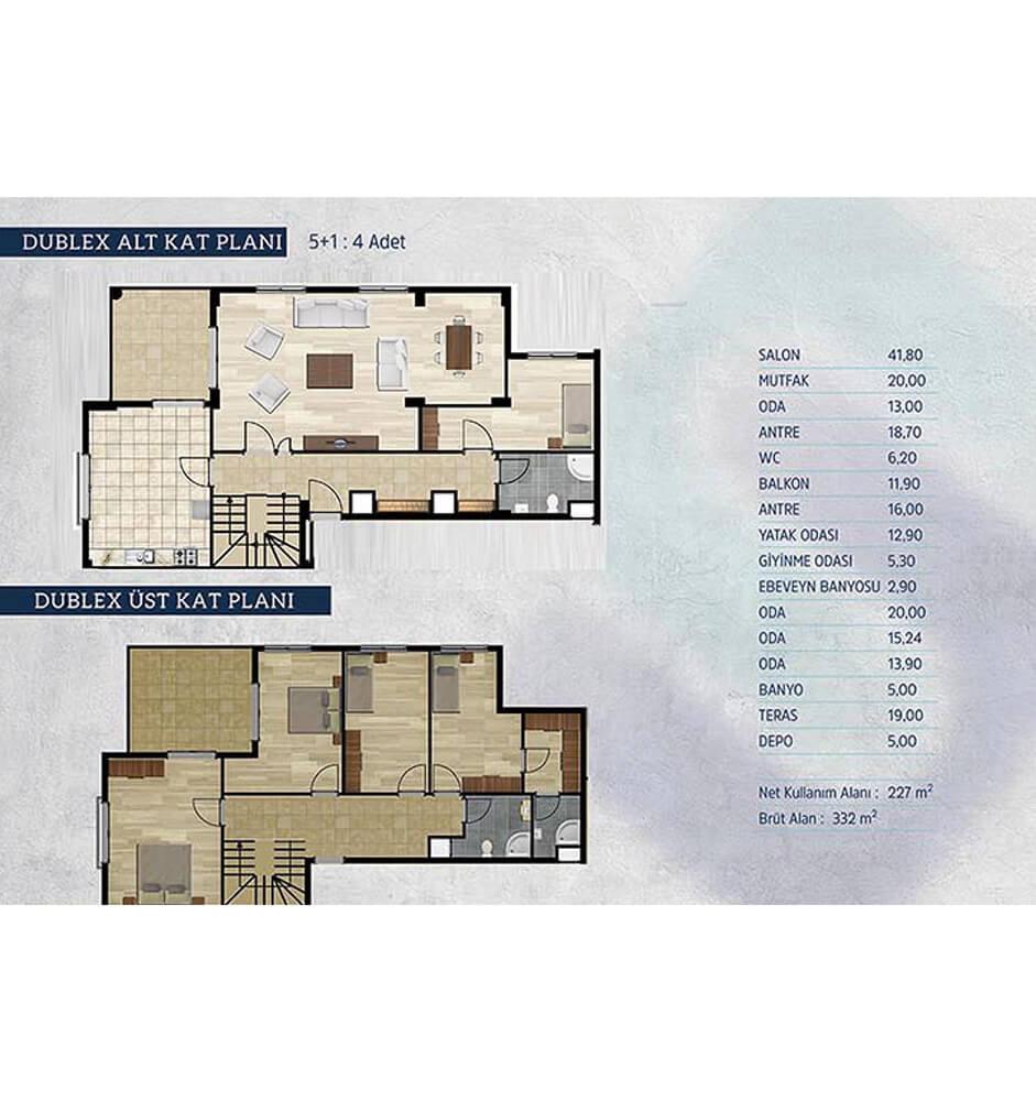 Kayapa Koru Evleri 5+1 Dublex  Kat Planları