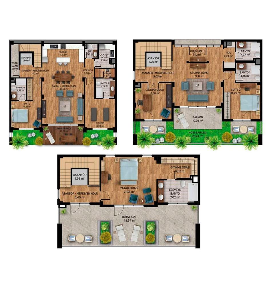 Kentplus Yalova 5+1 Dubleks Kat Planları