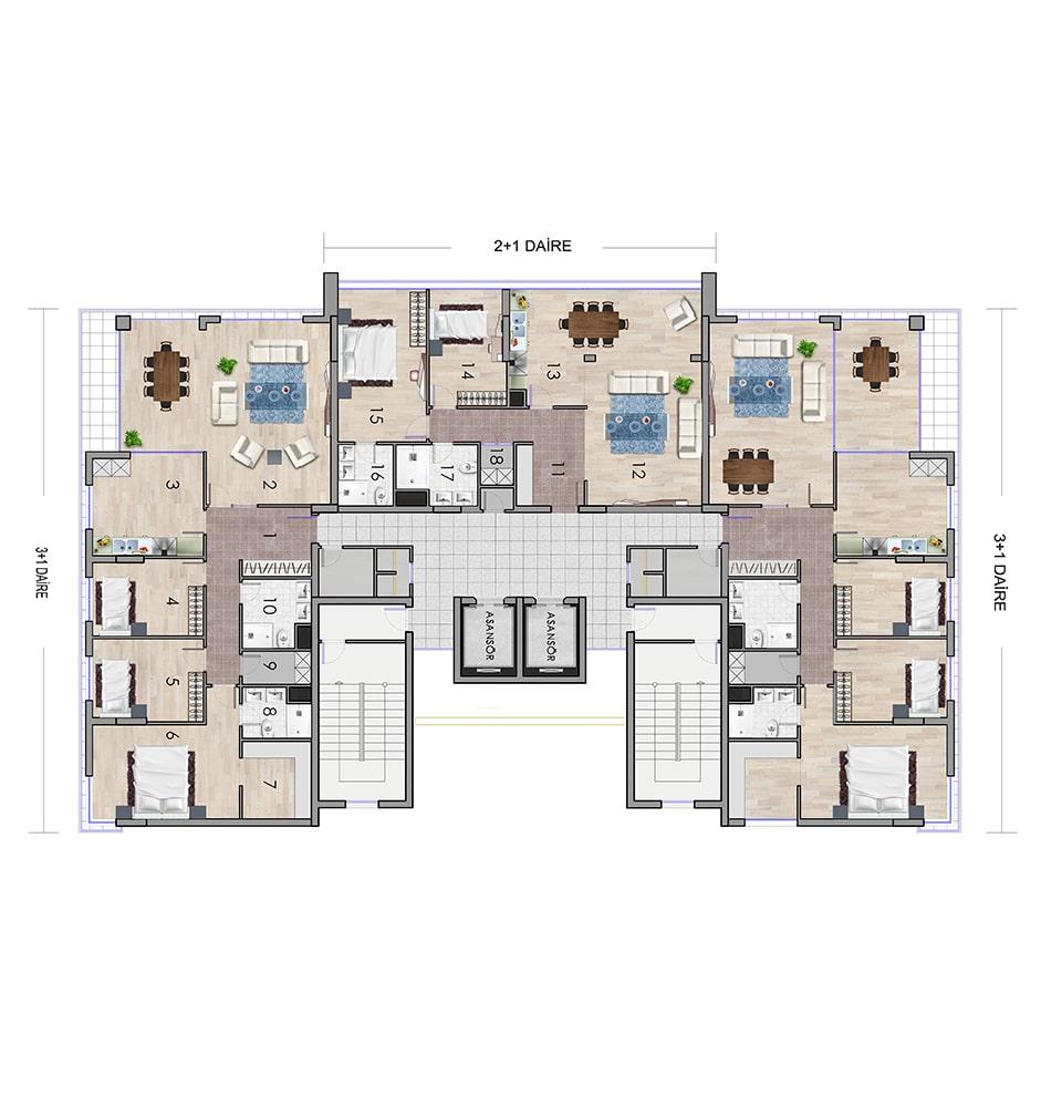 Keyvan Acrux Residence 3+1 Kat Planları