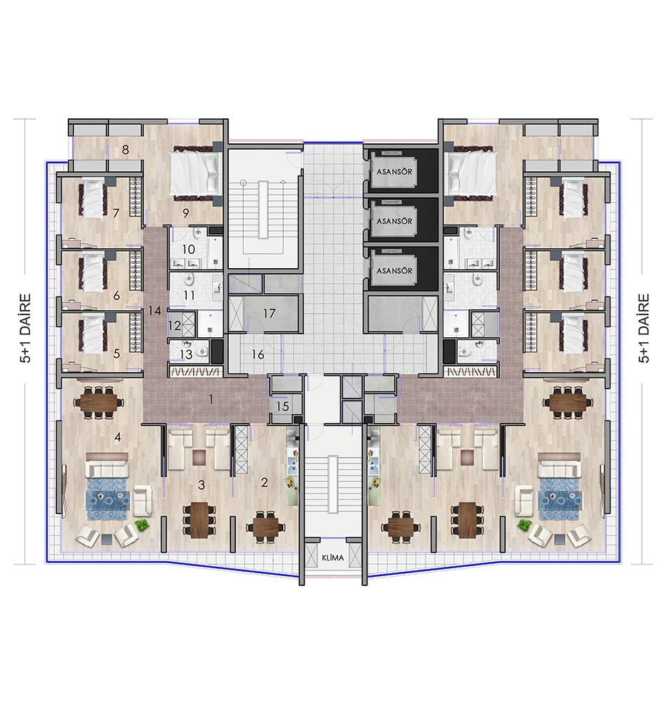 Keyvan Acrux Residence 5+1 Kat Planları
