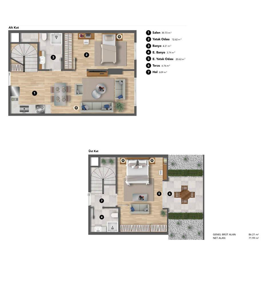 Koray Bianco  2+1 Dublex Kat Planları