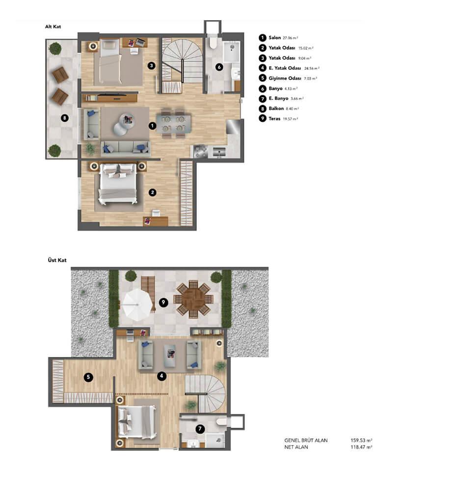 Koray Bianco  3+1 Dublex Kat Planları