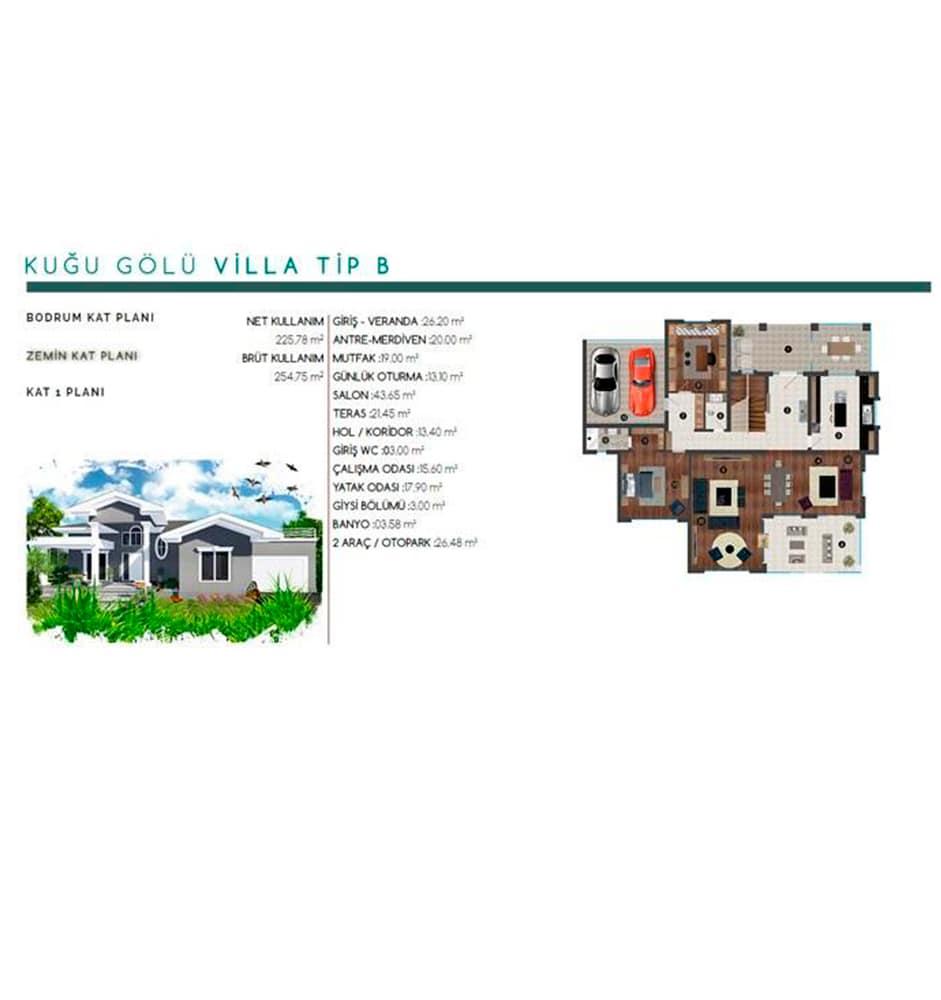 Kuğu Gölü Villaları  Villa Kat Planları