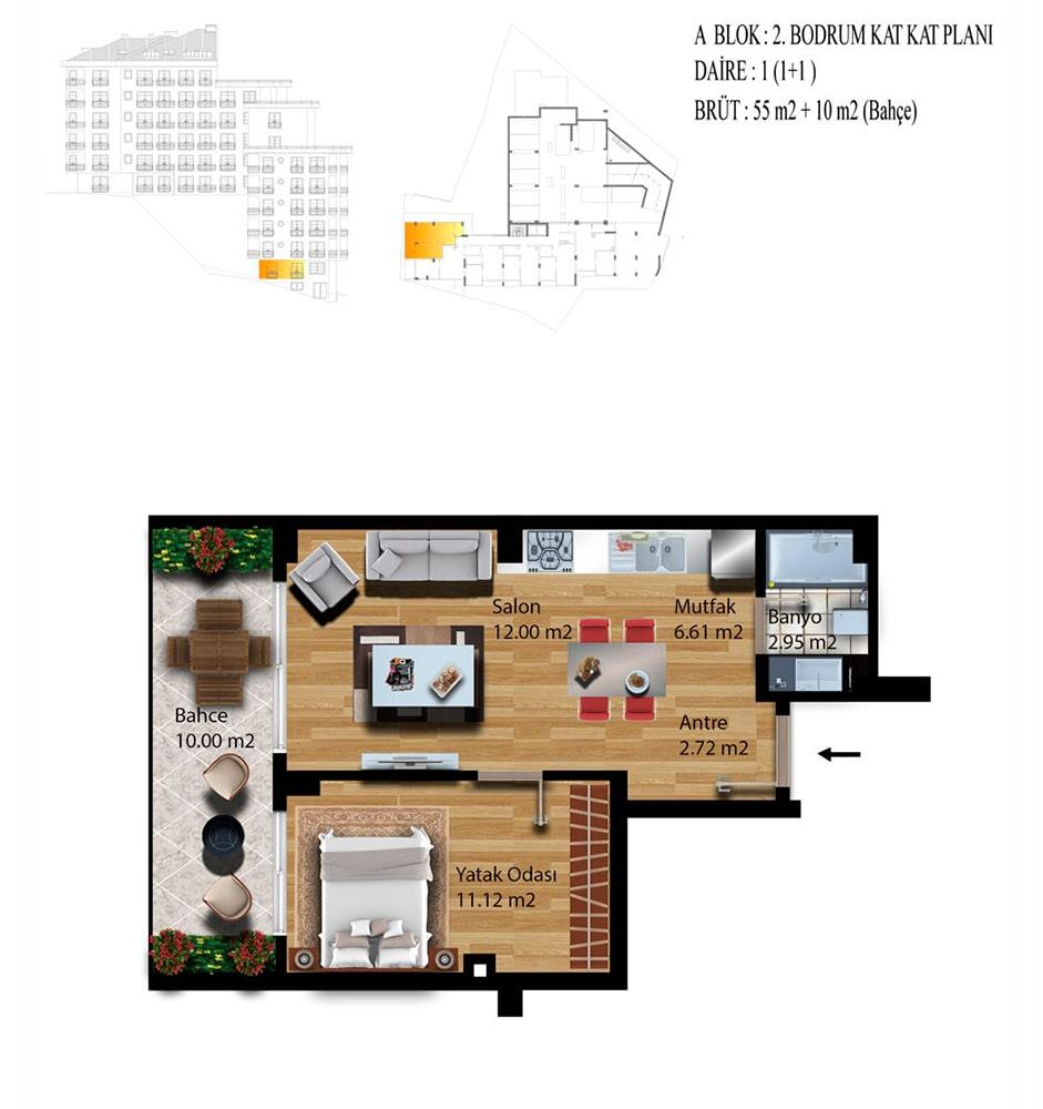 Kuleli Evleri Poyraz 2  1+1  Kat Planları
