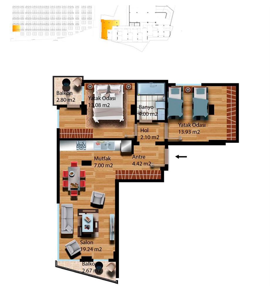 Kuleli Evleri Poyraz 2  2+1 Kat Planları