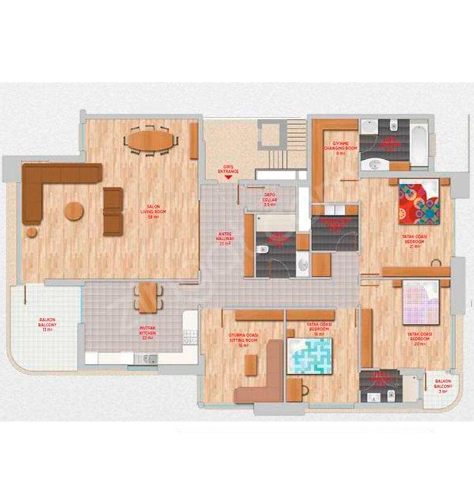 Lavanda Evleri  4+1 Kat Planları