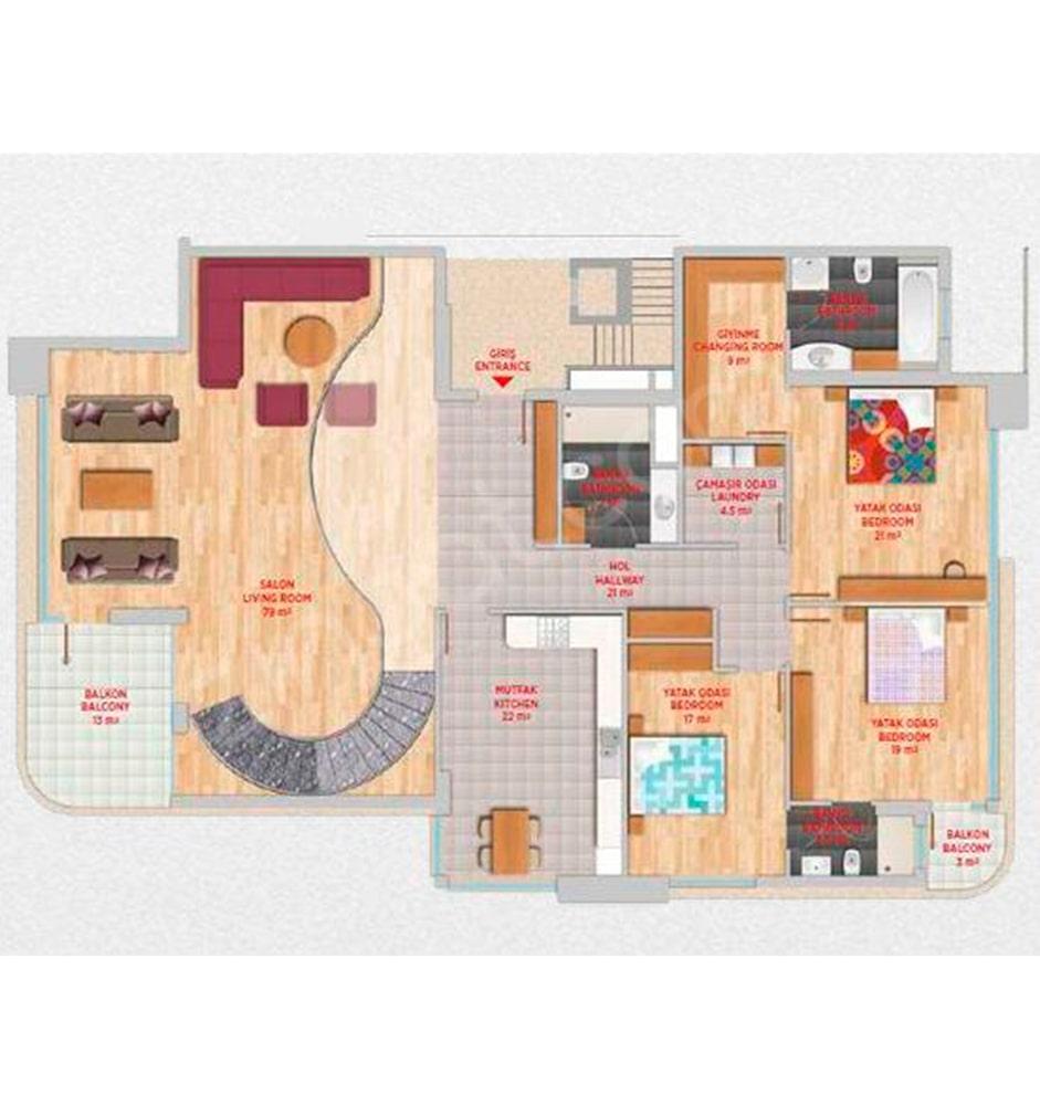Lavanda Evleri  5+1 Kat Planları