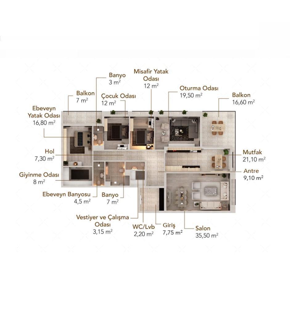 Lema Evleri 4+1 Kat Planları