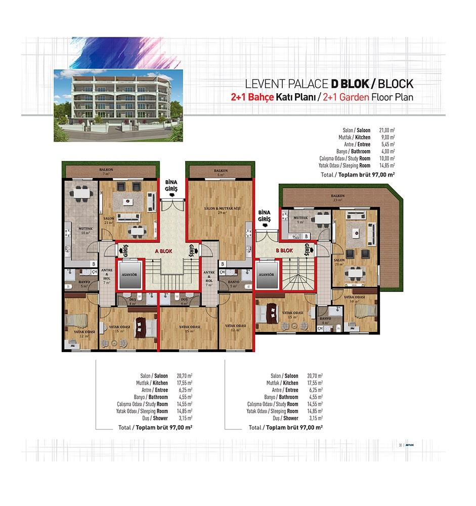 Levent Palace 2+1 Kat Planları
