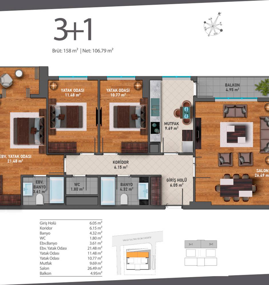 Luxera Güneşli 3+1 Kat Planları