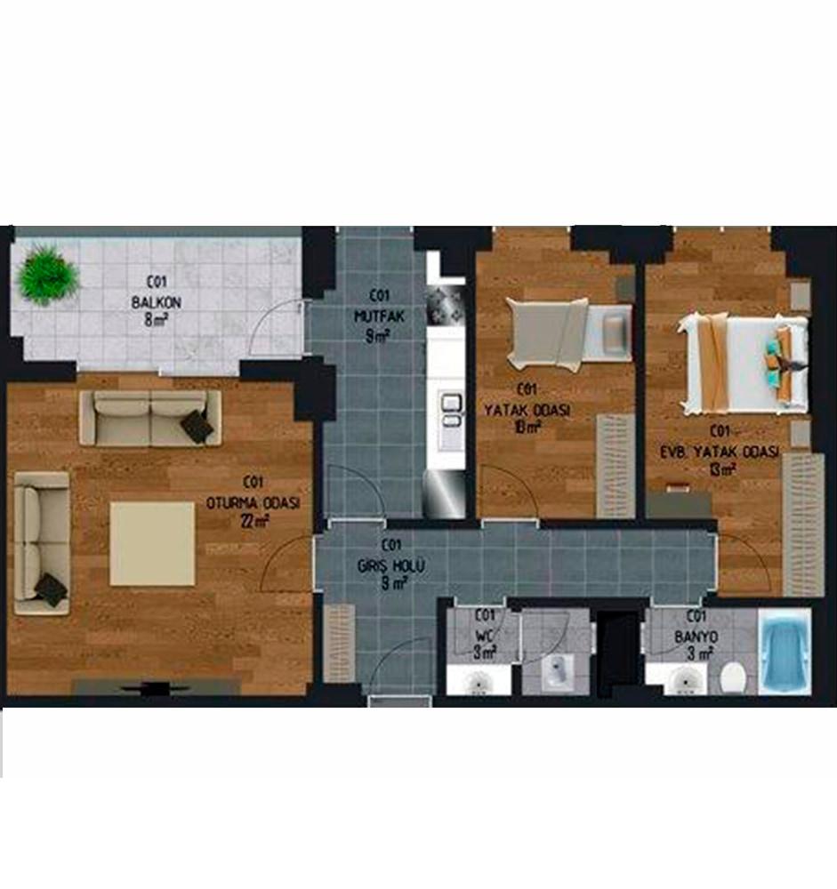 Malatyalife Residence  2+1 Kat Planları