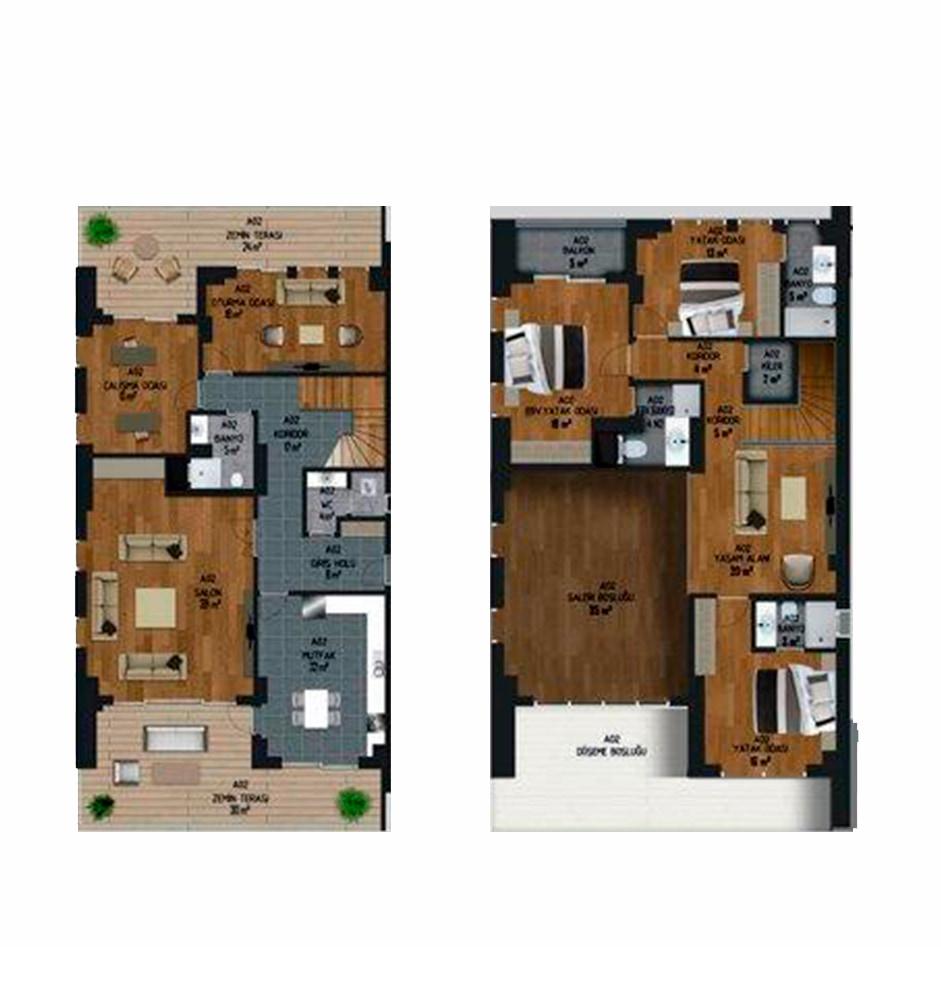 Malatyalife Residence  5+2 Kat Planları
