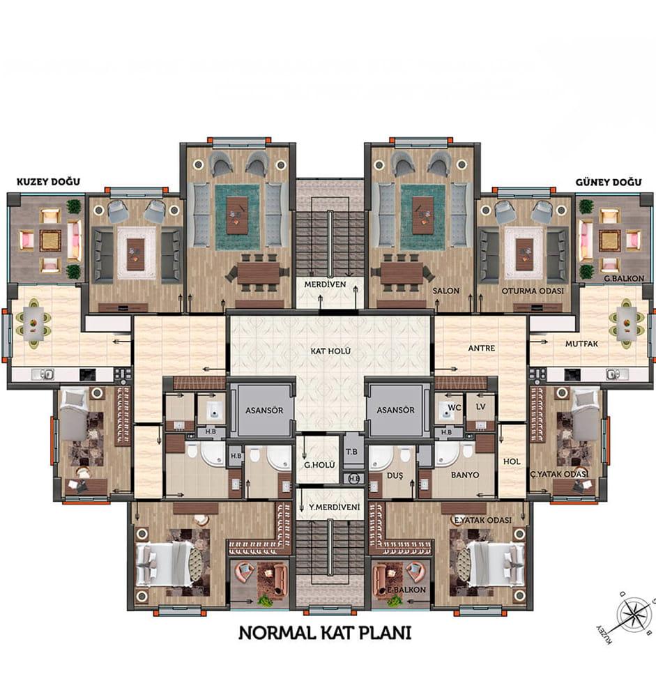 Manzara Evleri 3+1 Kat Planları