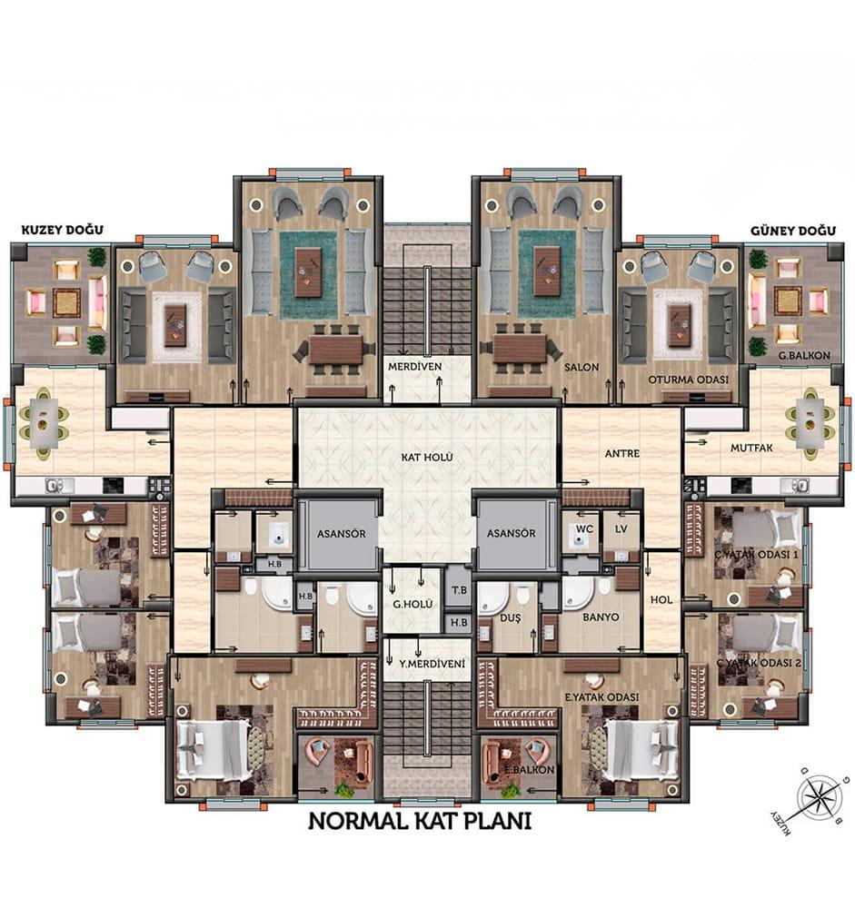 Manzara Evleri 4+1 Kat Planları