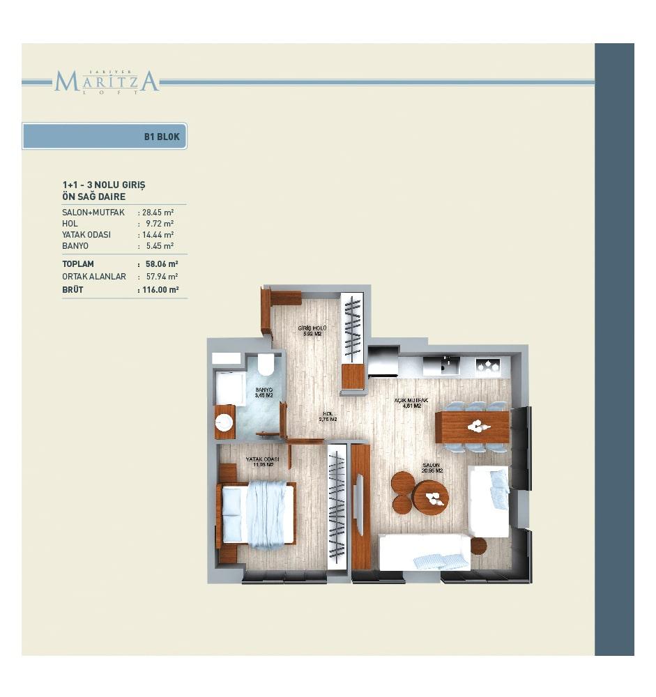 Maritza Loft Sarıyer 1+1 Kat Planları