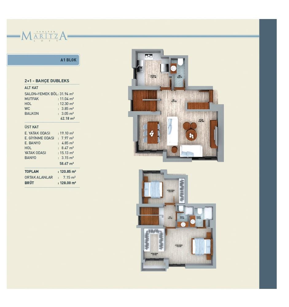 Maritza Loft Sarıyer 2+1 Dubleks Kat Planları