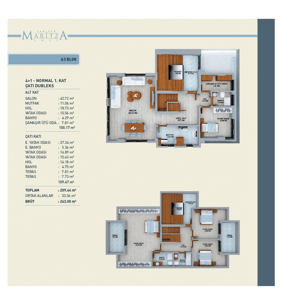 Maritza Loft Sarıyer 4+1 Dubleks Kat Planları