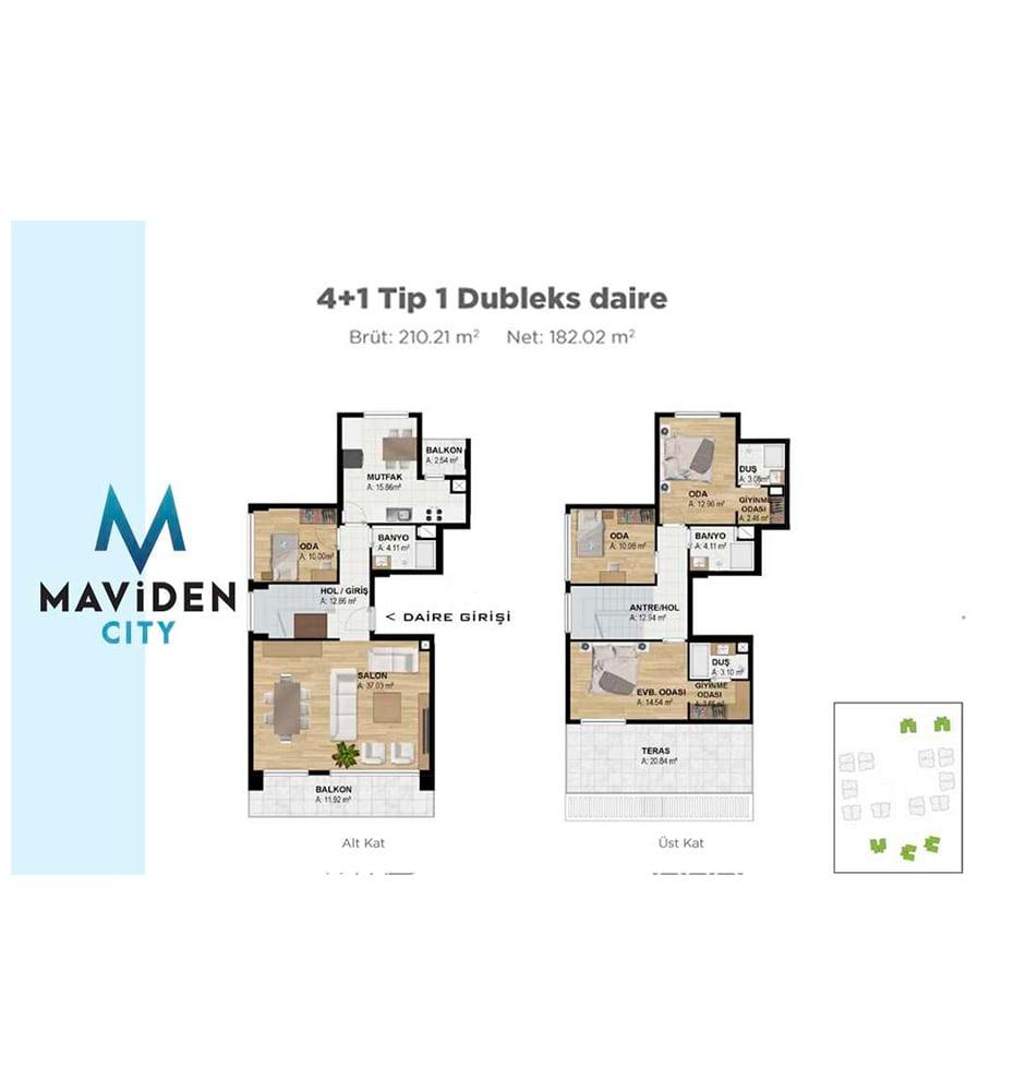 Maviden City 4+1 Kat Planları