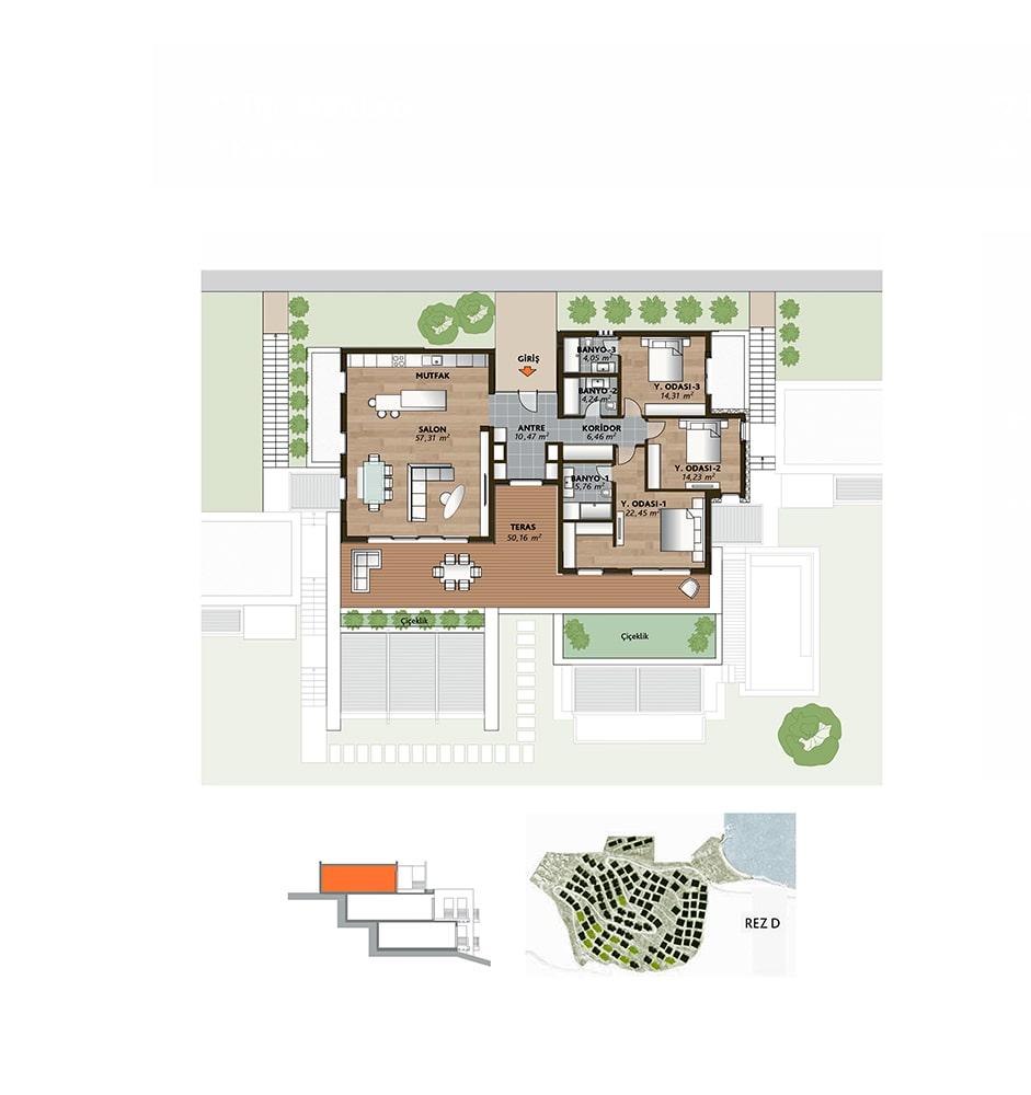 Mesa Bodrum Demirbükü  3+1 Kat Planları
