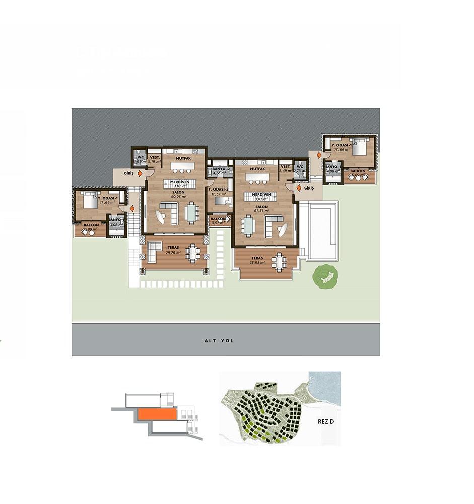 Mesa Bodrum Demirbükü  4+1 Kat Planları