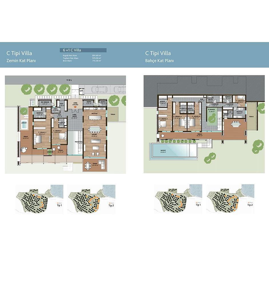 Mesa Bodrum Demirbükü  6+1 Kat Planları