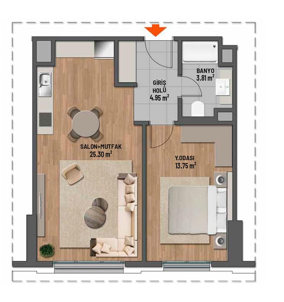 Mesa Cadde 1+1 Kat Planları