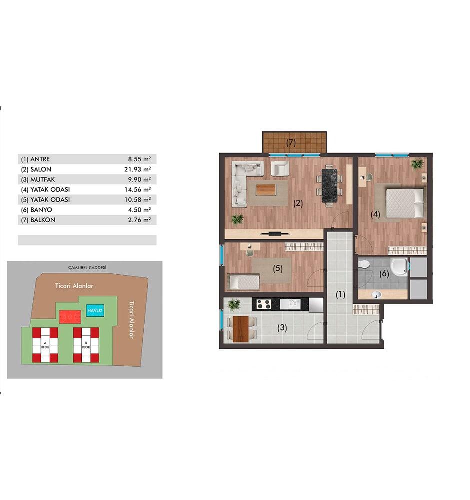 Metropol Rezidans Çorlu   2+1 Kat Planları