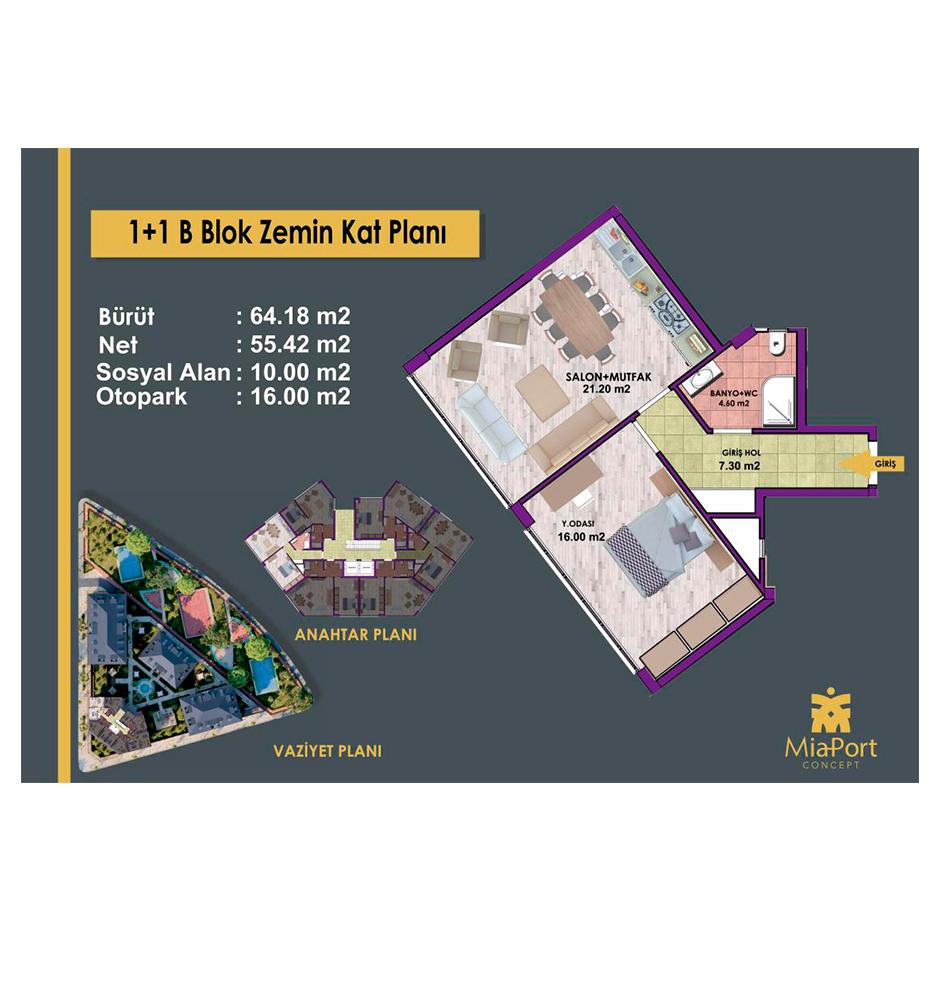 MiaPort Concept 1+1 Kat Planları