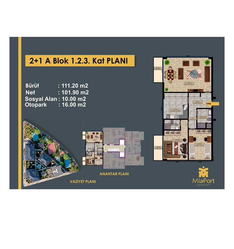 MiaPort Concept 2+1 Kat Planları