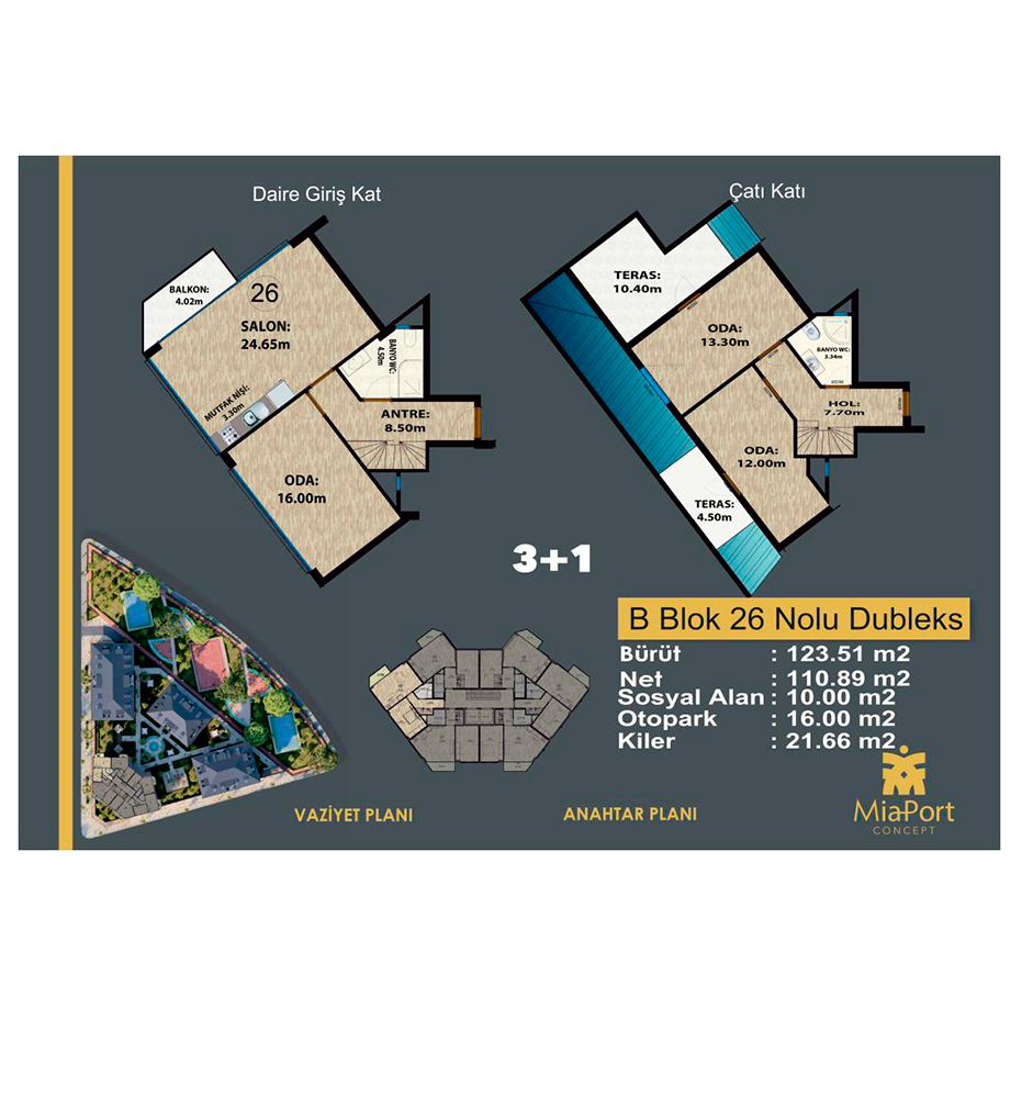 MiaPort Concept 3+1 Kat Planları