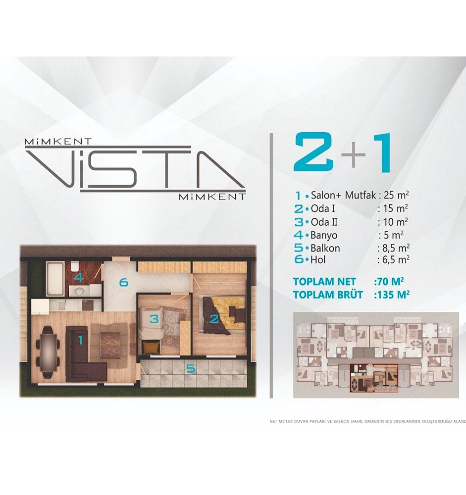 Mimkent Vista 2+1 Kat Planları