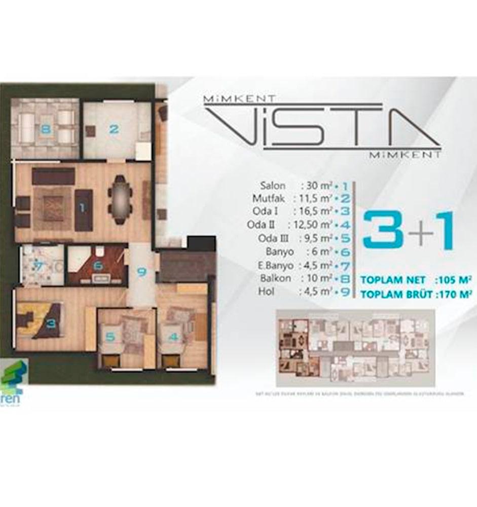 Mimkent Vista 3+1 Kat Planları