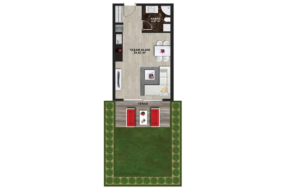 Mina Towers 1+0 Kat Planları