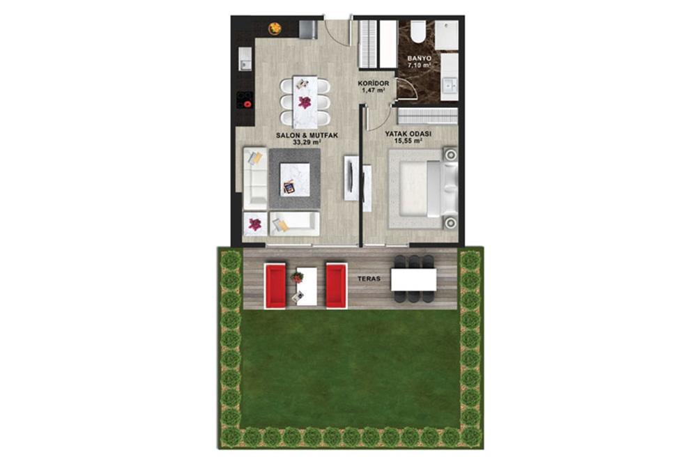 Mina Towers 1+1  Kat Planları