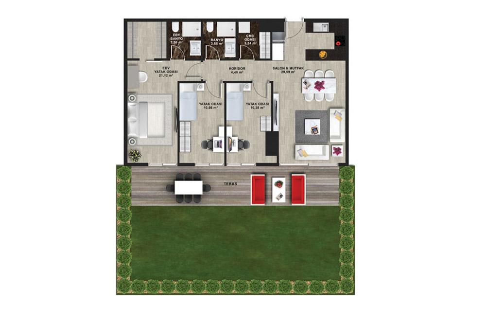 Mina Towers 3+1 Kat Planları