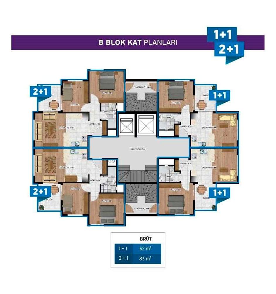 Miray Park 1+1  Kat Planları