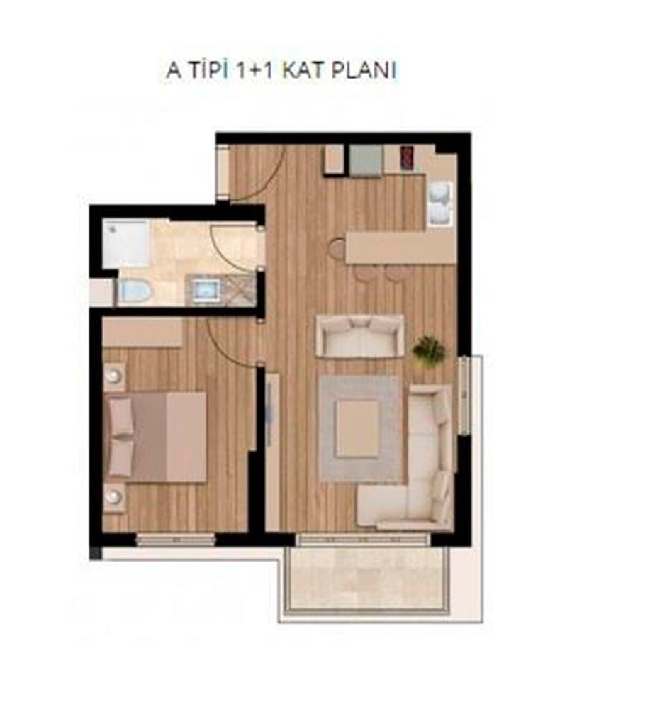 Modern Nest 1+1 Kat Planları