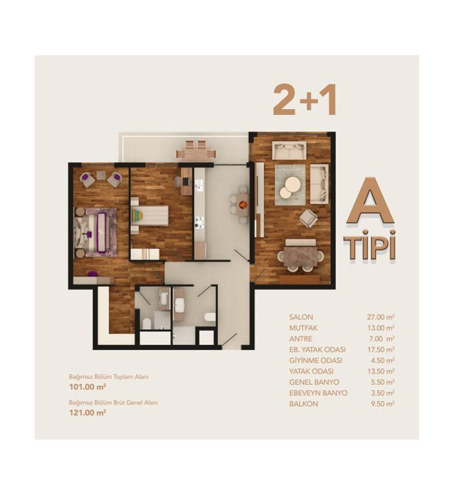 My Life Home 2+1 Kat Planları