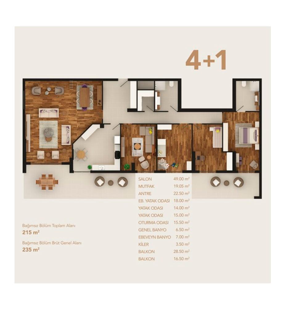 My Life Home 4+1 Kat Planları