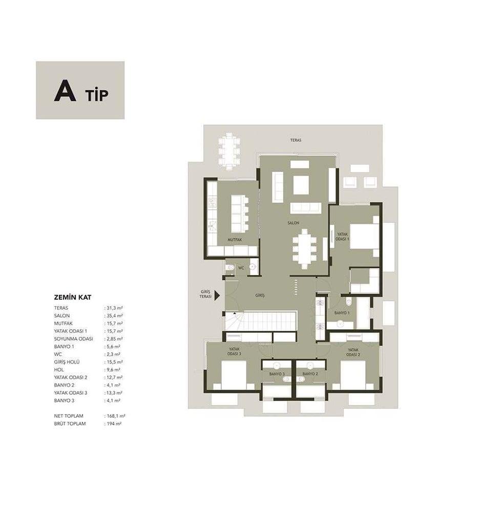 Naringi Sahil Evleri 5+1 Villa Kat Planları