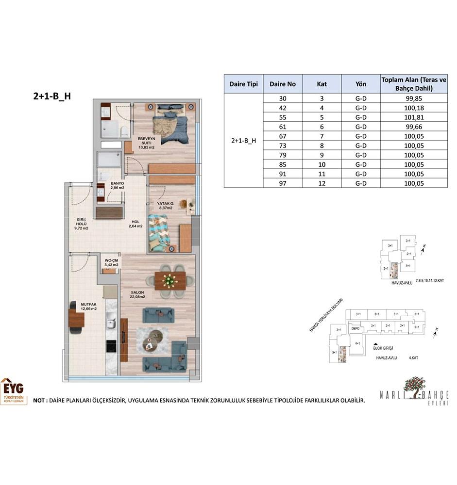 Narlı Bahçe Evleri 2+1 Kat Planları