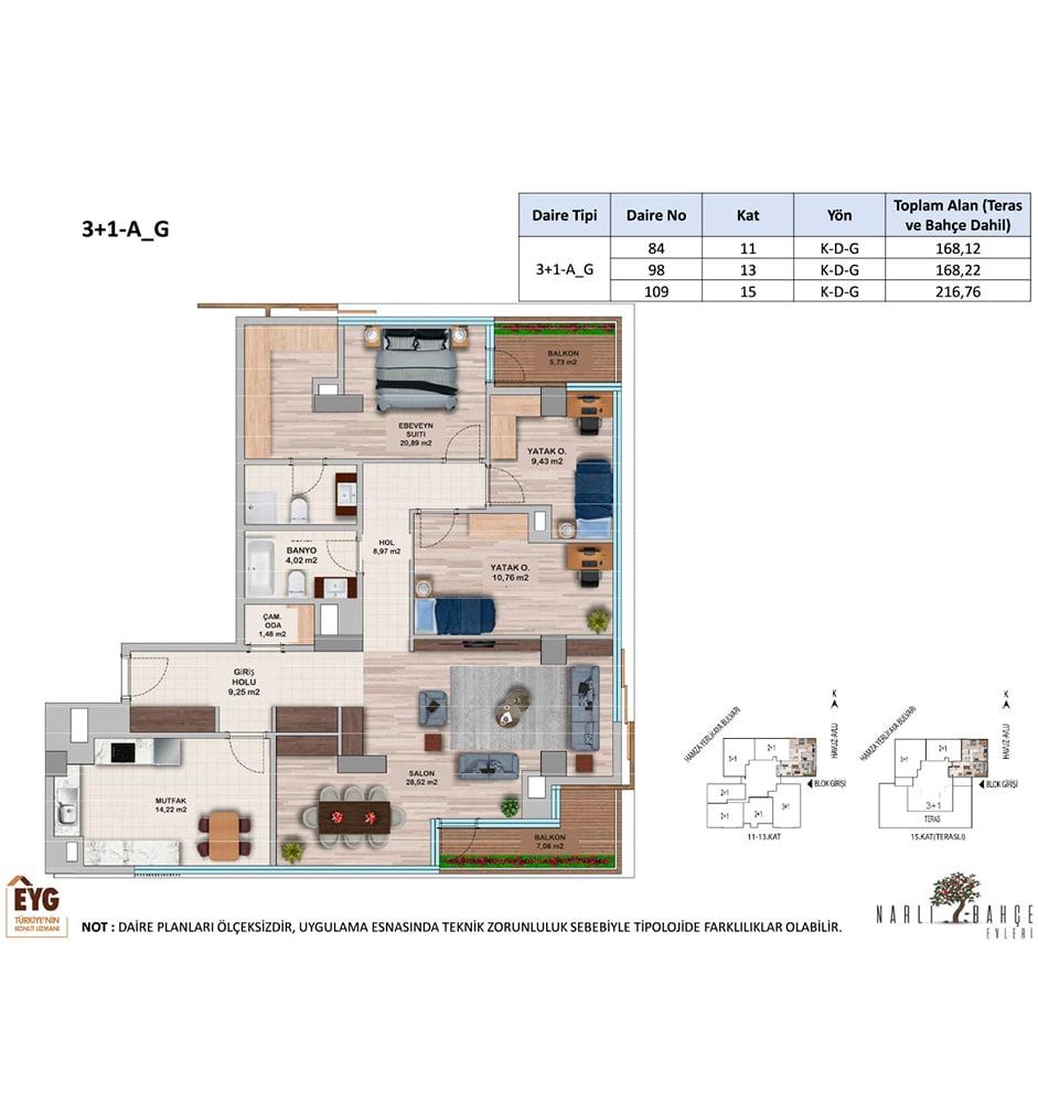 Narlı Bahçe Evleri 3+1 Kat Planları