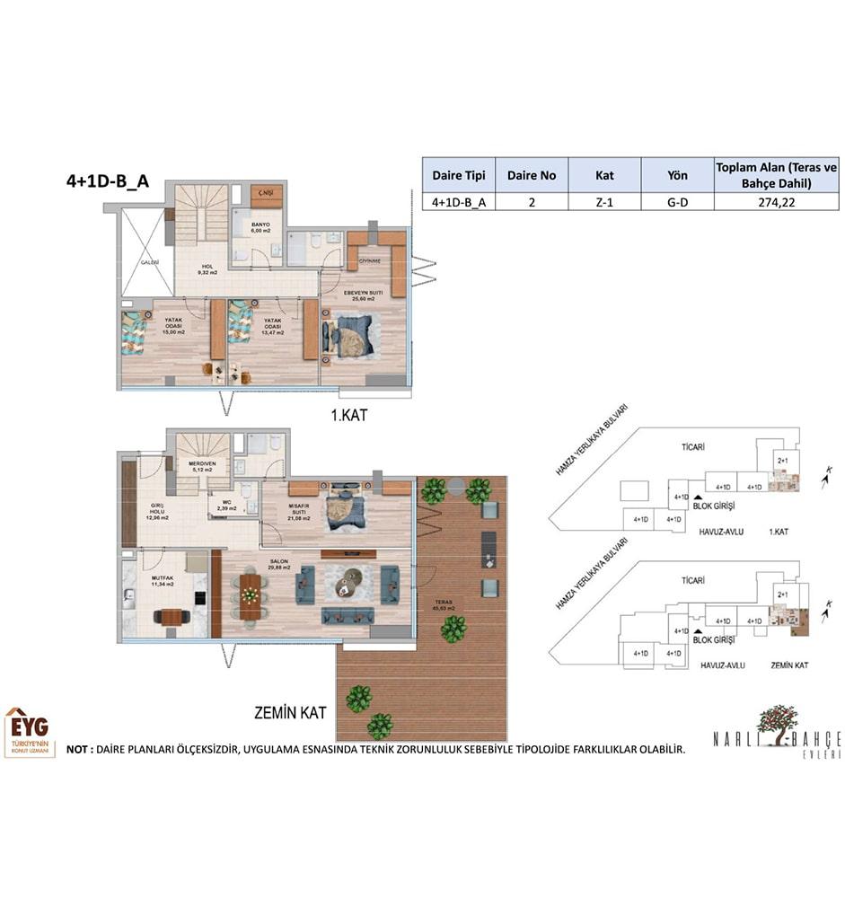 Narlı Bahçe Evleri 4+1 Kat Planları